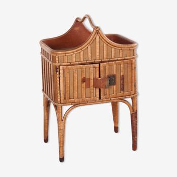 Table d'appoint de Bohème en bambou et rotin