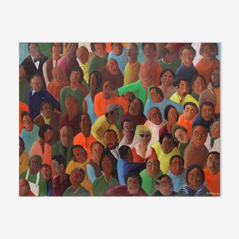 Huile sur toile, style cubain - foule personnages - 65 x 50 cm