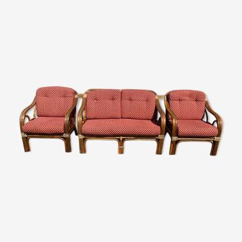 Ensemble salon rotin vintage 1 banquette et 2 fauteuils