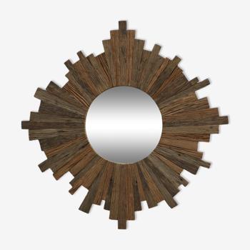 Miroir soleil en bois  123cm