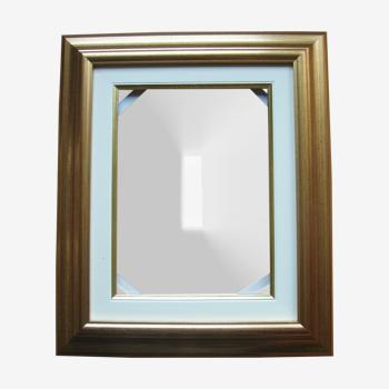 Cadre contemporain doré à la feuille avec Marie Louise - feuillure : 24 x 18 cm