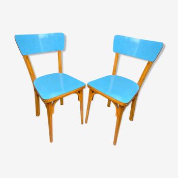 Paire de chaises en bois et formica baumann mid century vintage 1960