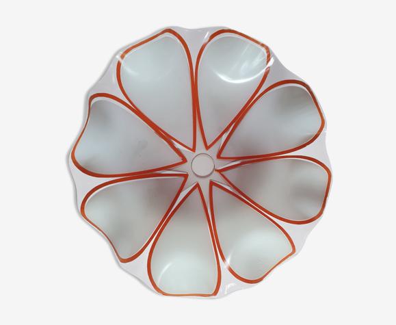 Abat-jour vintage en verre en forme de fleurs avec petales blanches au bords orange