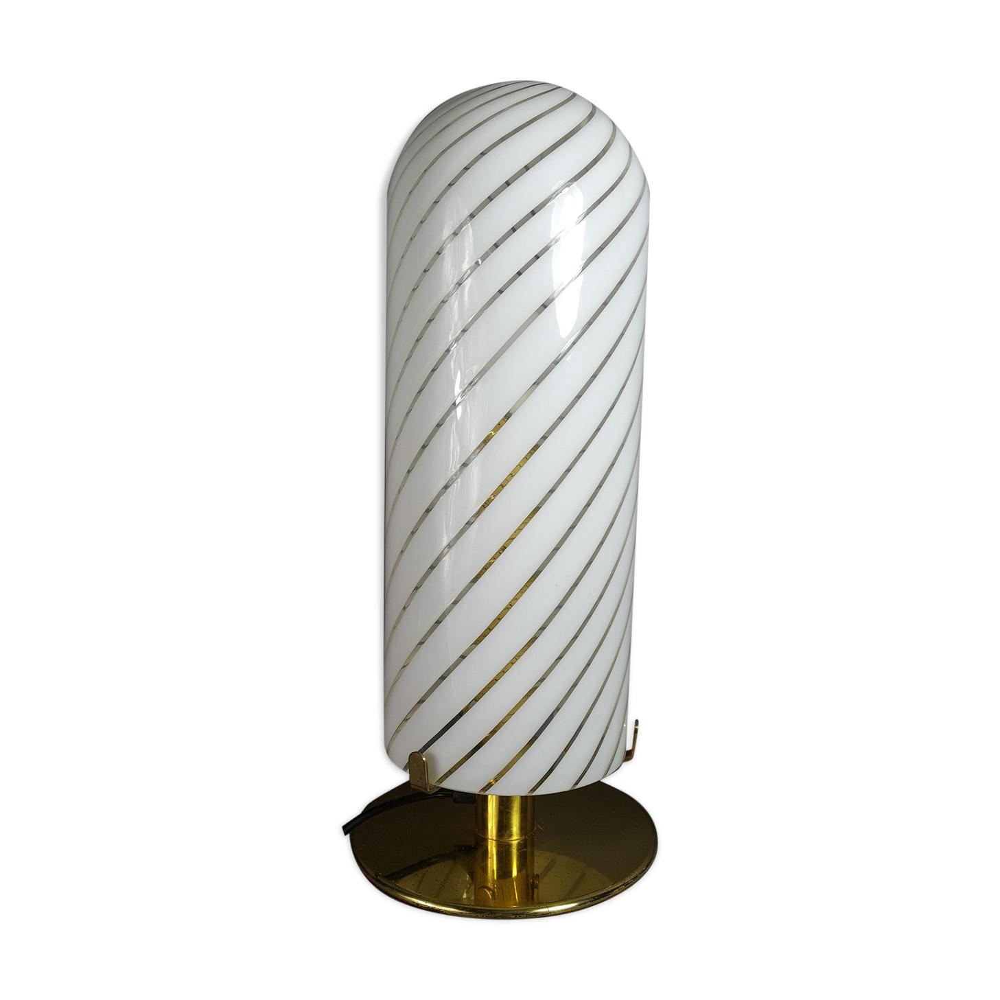 Lampe de table verre soufflé & métal doré Italie vintage