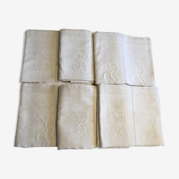 Lot de 6 draps doubles brodés lin et coton