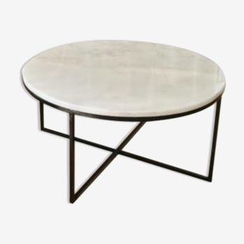 Table basse circulaire marbre blanc Ibiza - 90 cm D