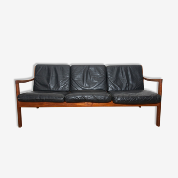 Black sofa 3 places leather and teak by Ole Wanscher for France & Søn