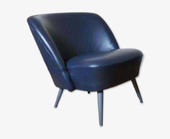 Fauteuil organique années 50/60 cuir noir bleuté