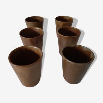 Suite of 6 Digoin sandstone cups
