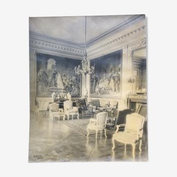 Photographie du salon d'un chateau