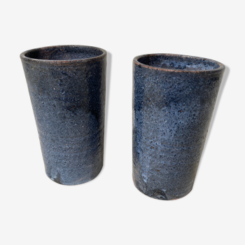 Pair of blue sandstone mugs