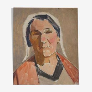 Portrait de femme sur panneau 1930 Guillot de Raffaillac