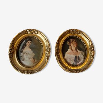 Ensemble avec 2 cadres en bois style florentin - les images sont faites d'impression de soie, vintage
