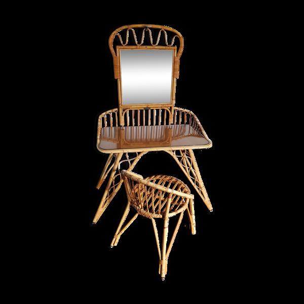 Coiffeuse rotin et sa chaise 60