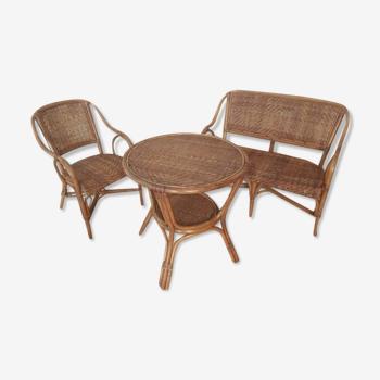 Ensemble salon en rotin et canapé vintage
