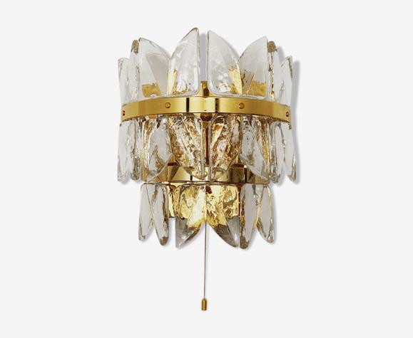 Lampe murale en verre glacé dorée par J.T. Kalmar