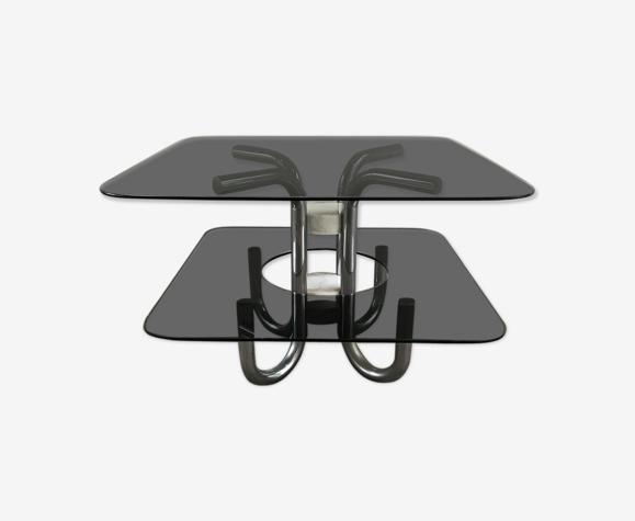 Table basse italienne avec dessus en verre fumé