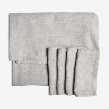 Nappe et serviettes en lin upcyclées beiges chinées