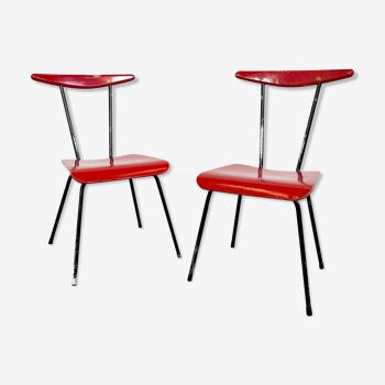 Ensemble de 2 chaises vintage rouge noir par Wim Rietveld