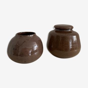 Duo de céramiques émaillées vintage
