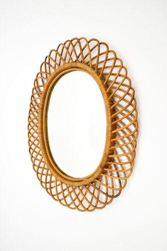 Miroir en bamboo années 1960 66x81cm