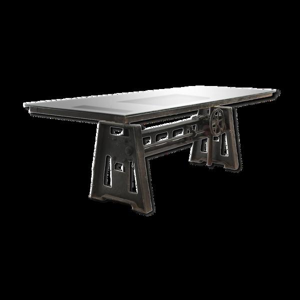 Table industrielle au plateau en verre