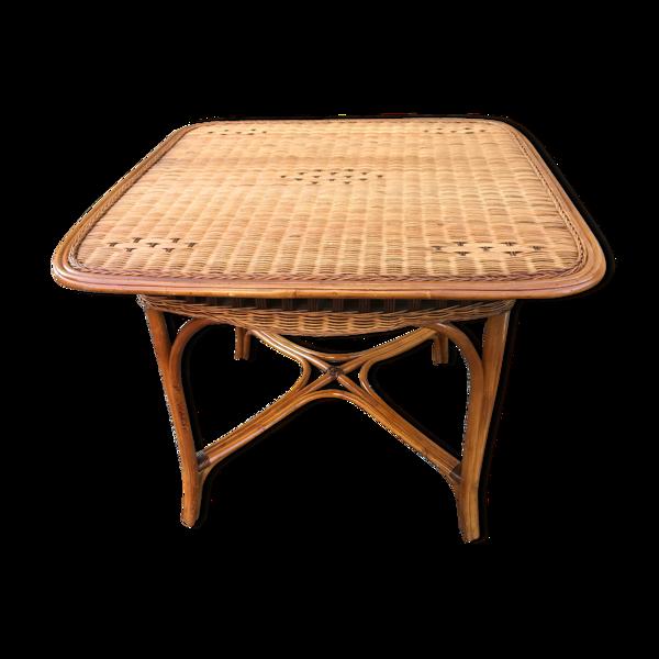Table vintage en rotin