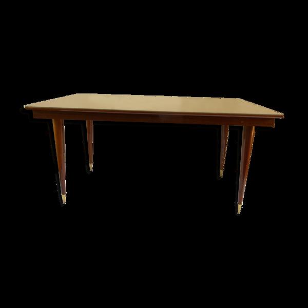 Table de salle à manger bois marqueté et vernis pied compas laiton
