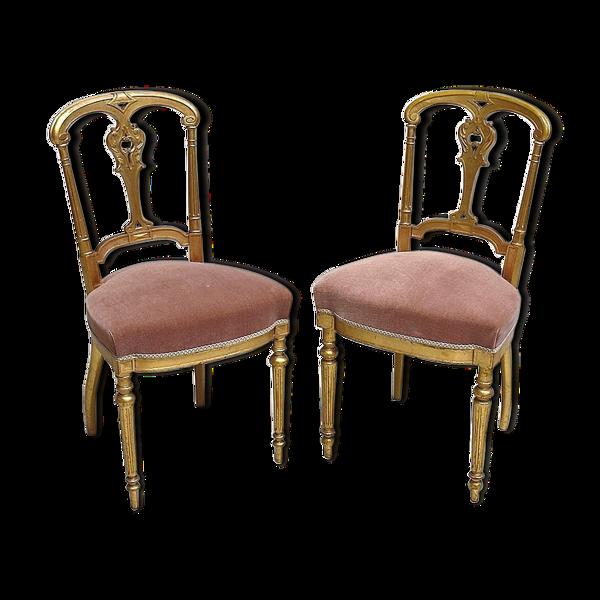 Paire de Chaises en Bois Doré Époque Napoléon III – 2ème partie du XIXe