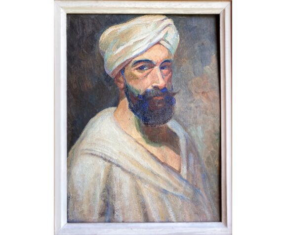 Tableau ancien, portrait d'homme au turban , XX siècle, signé
