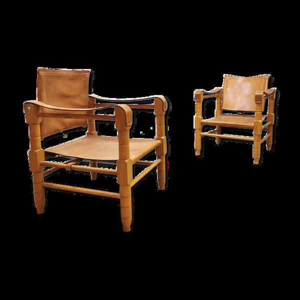 Vintage design cuir safari fauteuil