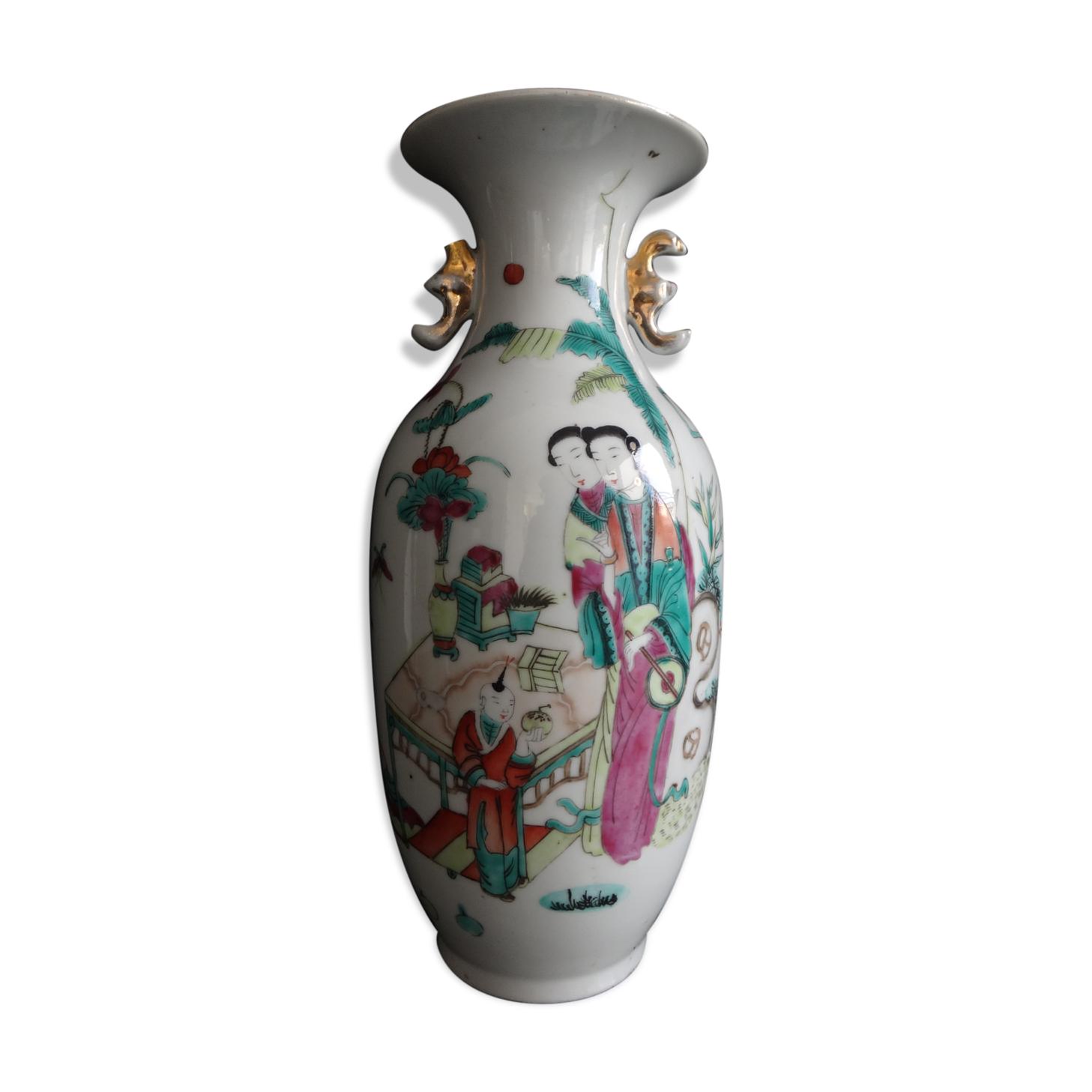 Vase chinois famille verte  femmes poeme 27cm  XIX