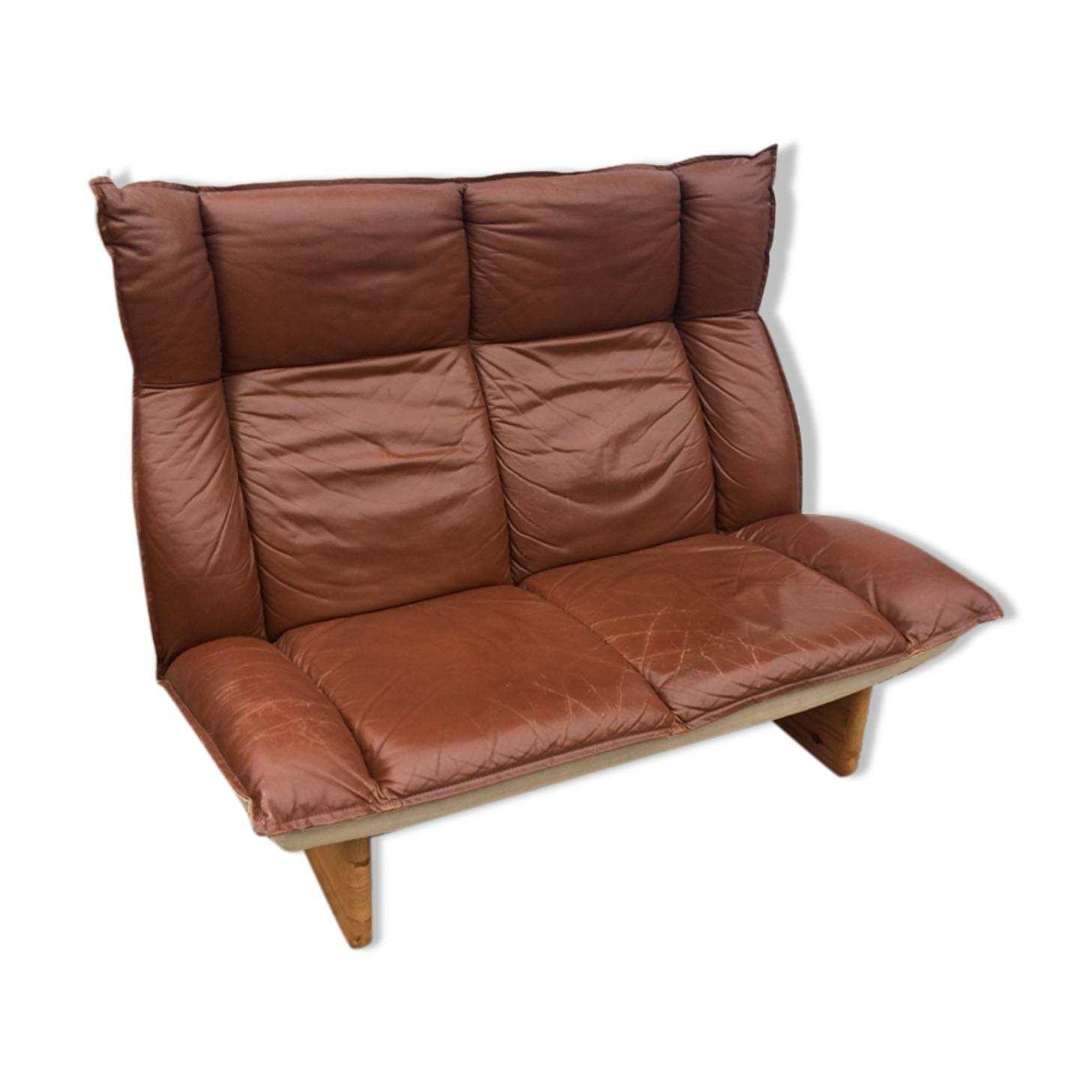 Canapé cuir et lin vintage scandinave