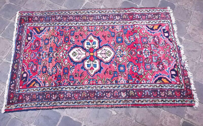 Tapis d'orient fait main vintage persan Hamadan 126 X 80 cm