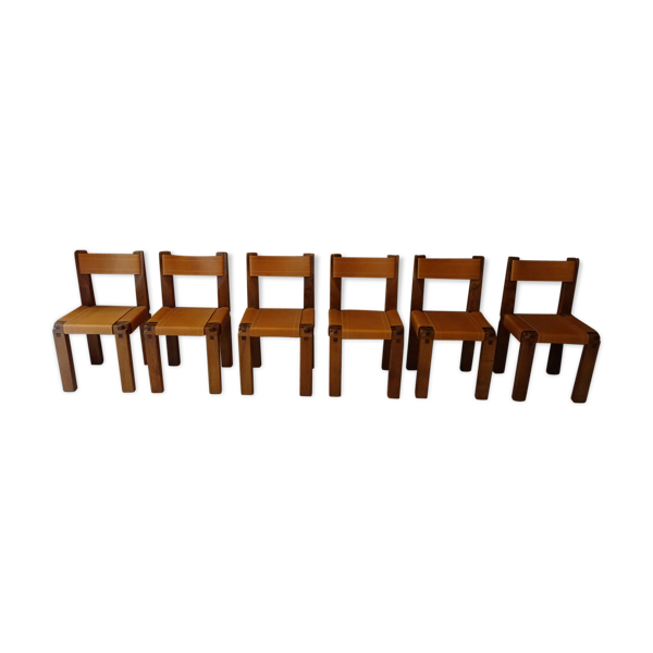 Set de 6 chaises S11 de Pierre Chapo, 1970