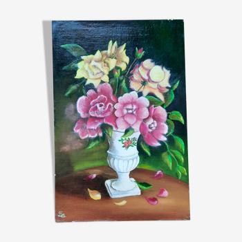 Huile sur toile fleurs dans un vase