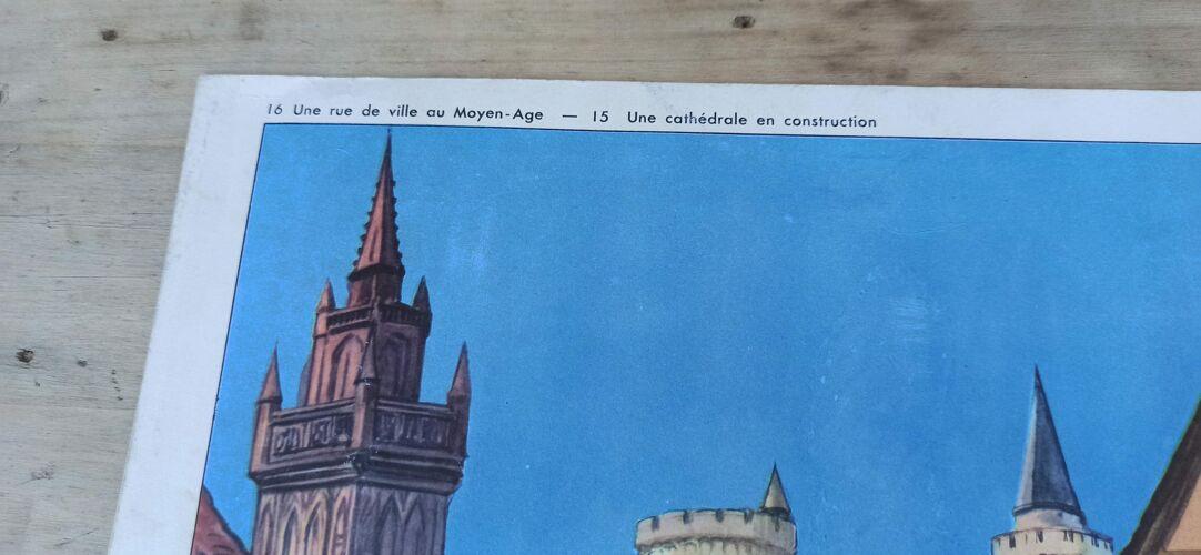 Affiche scolaire recto/verso 76 X 56 - fiche de lecture Rossignol moyen Âge / cathédrale