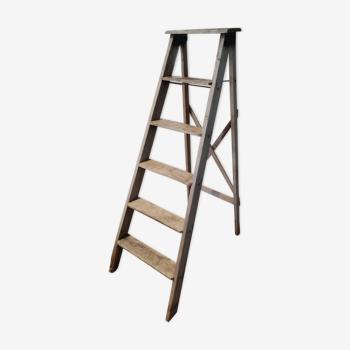 Escabeau, échelle de peintre vintage en bois brut