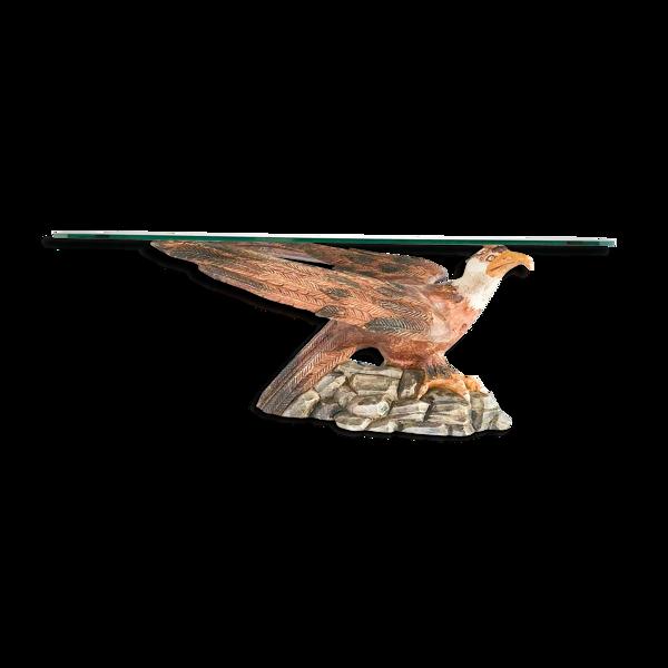 Table basse aigle en bois