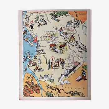 Affiche ancienne carte illustrée des régions vendée poitou charentes - jp pinchon