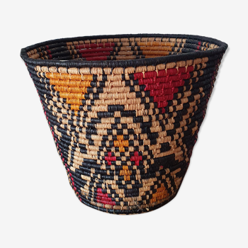 Panier ethnique en paille tressé multicolore