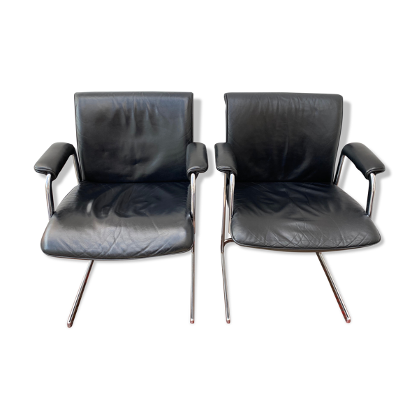 Paire de chaises de bureau en cuir noir par Boss Design