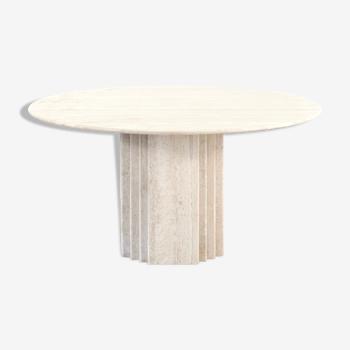Italian travertine minimalist geometric dining table 1970s