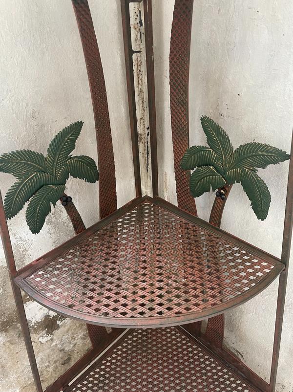 Etagère palmiers en métal peint