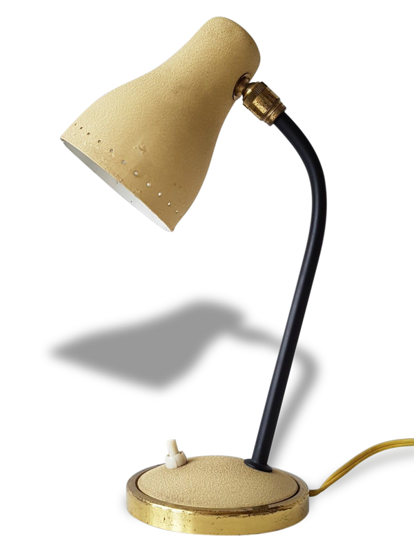 Lampe à poser typique 1950 réflecteur ogive beige années 50 vintage rockabilly zazou