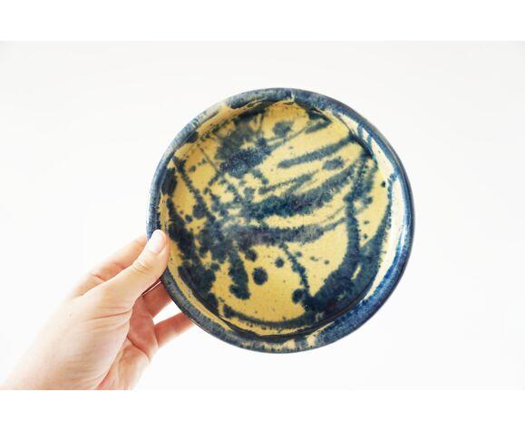 Vide poche vintage céramique bleu et jaune