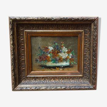 Huile sur toile C.Mary XIXème avec encadrement Napoléon III