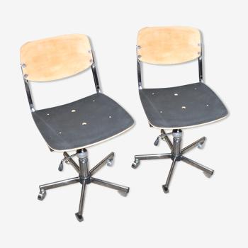 Lot de deux chaises de bureau à roulettes