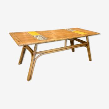 Table basse de Roger Capron en rotin et céramique