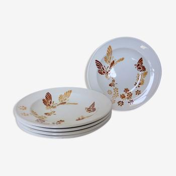 Série de 5 assiettes creuses vintage de Sarreguemines en porcelaine
